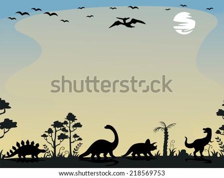 illustration prehistoric scene featuring palm trees stock