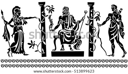 Background in the Greek style. Black silhouettes of the Greek heroes. Tattoos on a thematic topic.