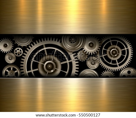 Background metallic gears, vector shiny metal design.