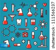 Background of scientific icons with reflection, vector Eps 10 illustration. - stock photo