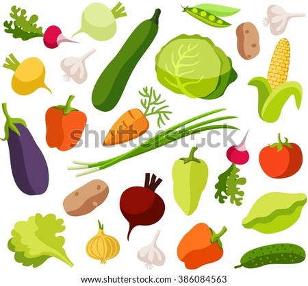 Background vegetables, white, color, seamless. White vector background with colored, flat vegetables. For the decoration.