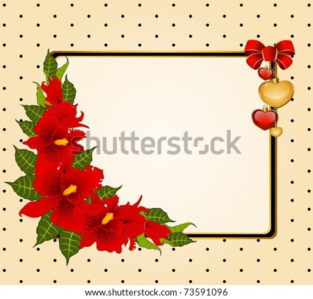Background with beautiful orchids. Vector