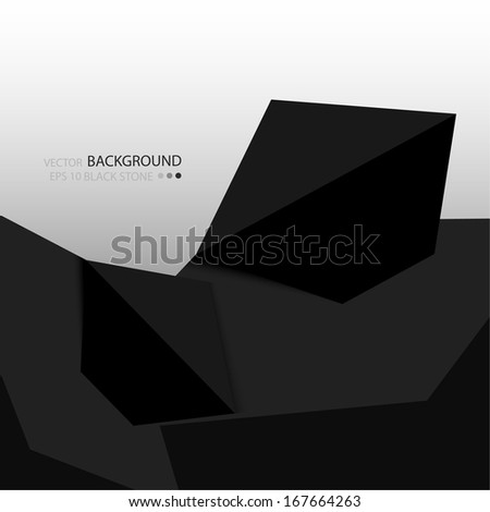 Background with black stones. Crystals. Vector template for web, banner. Strict and minimalist style
