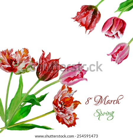 Background with bouquet of tulips.Vector Illustration