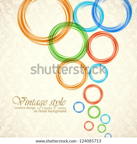 Background with circles on floral background