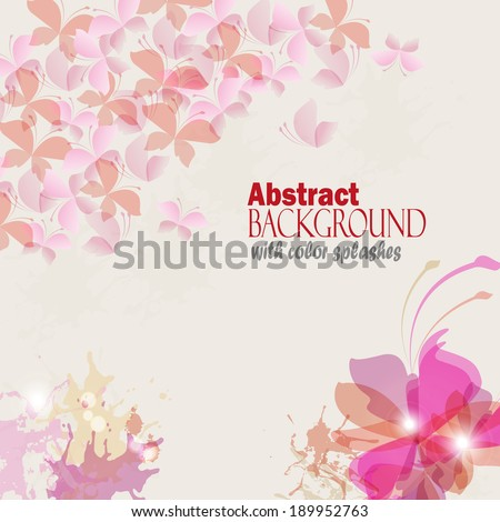 Background with colorful spots and sprays. Vector illustration.