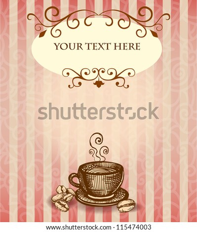 Background with cup of coffee in English style