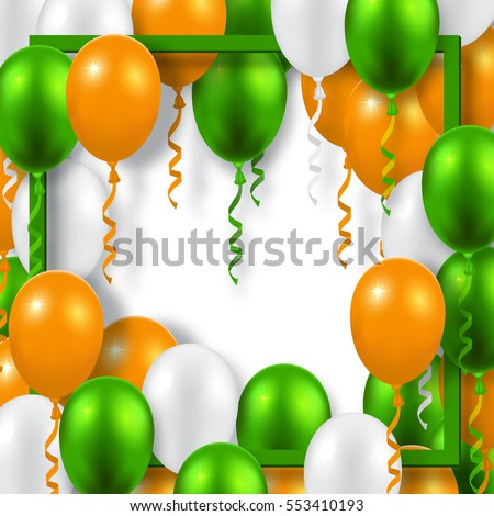 Background with green, orange and white balloons