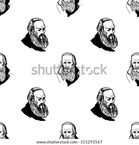 Background with hand drawing inky portraits of the great Russian writers: Dostoevsky. Vector seamless pattern. Ornament with a literary motif.