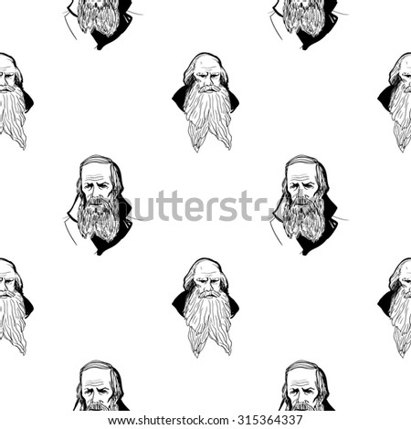 Background with hand drawing inky portraits of the great Russian writers: Tolstoy, Dostoevsky, Pushkin. Vector seamless pattern. Ornament with a literary motif.