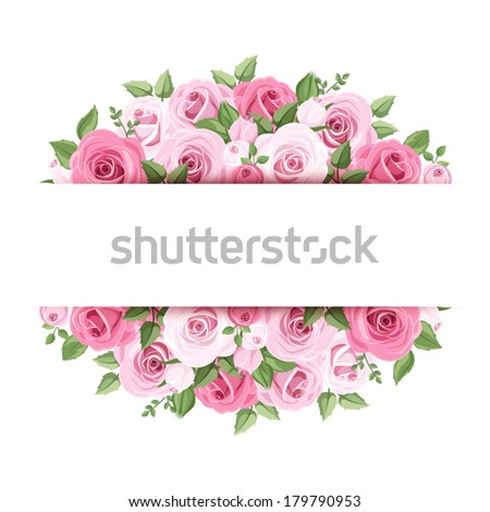 vector background frame pink roses lisianthus stock vector