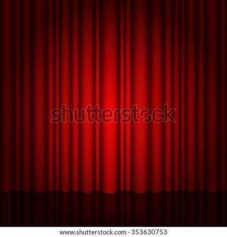 Background with red curtain and light. Red Stage with and glossy floor. Eps 10