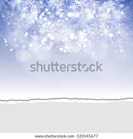 Background with Snowflakes and Torn Paper