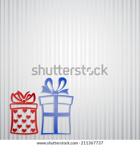 Background with strips and two gift boxes