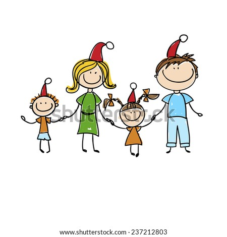 background with the image of cheerful family in Christmas hats
