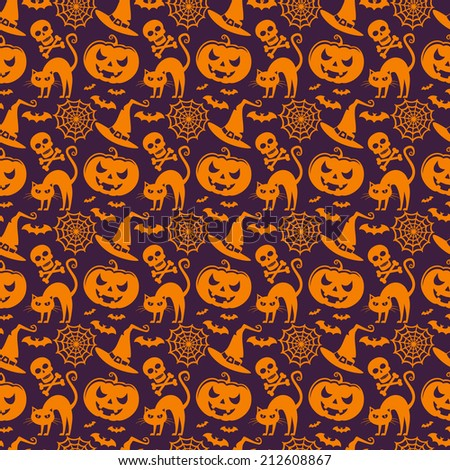 Background with traditional symbols of Halloween. Seamless pattern. Vector illustration.