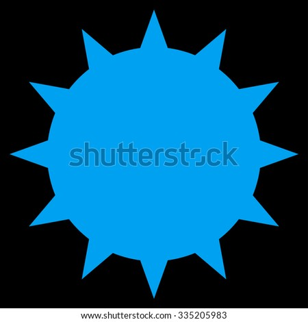 Bacterium vector icon. Style is flat symbol, blue color, rounded angles, black background.