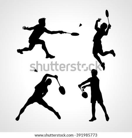 Badminton Players Silhouettes Set. Men silhouettes play Badminton vector. Collection of sportsmen. Vector illustration