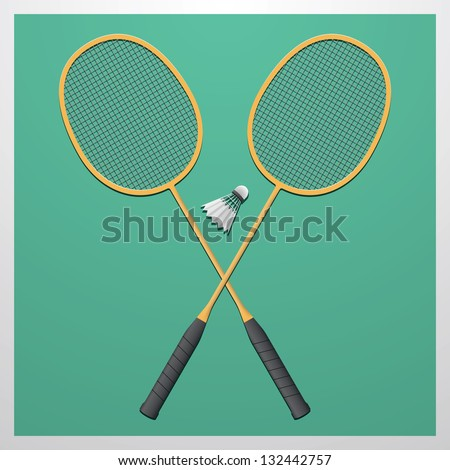 Badminton set. Classic wooden racquets (rackets) and a shuttlecock.