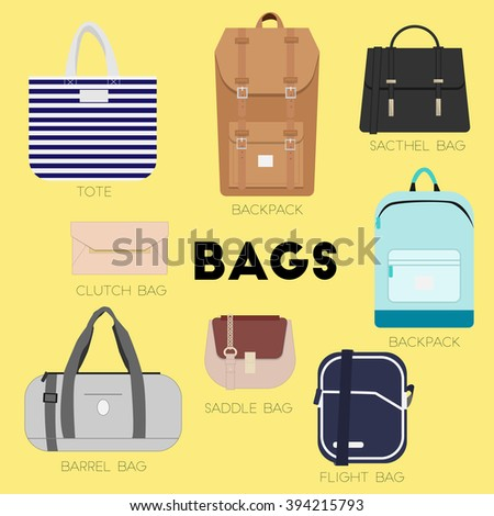 Bags set. Different kinds of bags and purses. Minimal flat vector illustration for print or web. Luggage, cases and backpacks.