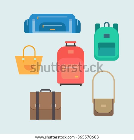 Bags vector set in a flat style. Sports and school bags, ladies handbag, suitcase, briefcase, shoulder bug vector collection.