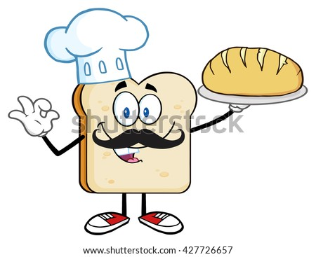 Baker Bread Slice Cartoon Mascot Character With Chef Hat And Mustache Holding A Bread. Vector Illustration Isolated On White