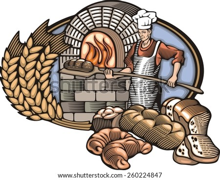 Baker Vector Illustration in Woodcut Style