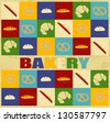 Bakery poster with bakery icons over vintage background, vector illustration - stock vector