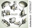 Bakery sketch icon set. Vintage hand drawn illustrations - stock