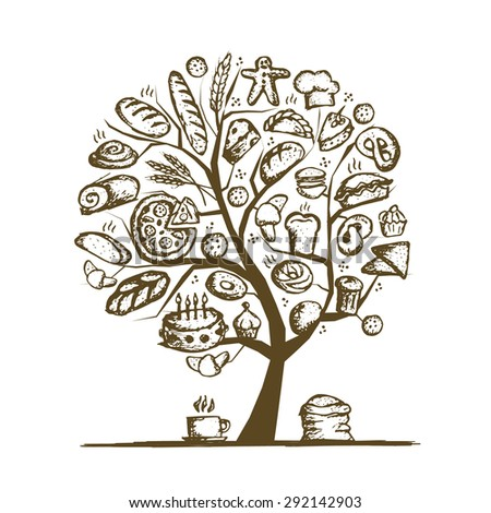 Bakery tree concept for your design. Vector illustration