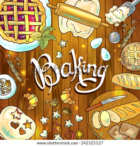 baking  beautiful hand-draw illustration