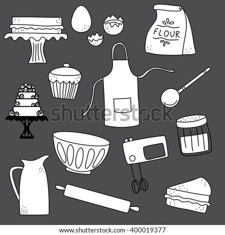 Baking doodle icon background illustration