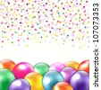 Balloons And Confetti, Isolated On White Background, Vector Illustration - stock vector