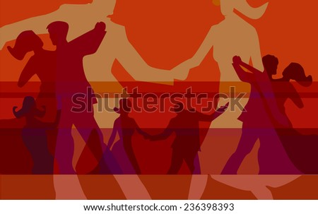 Ballroom dancing colorful background. Vector red background for with silhouettes of dancing couples. Vector illustration.