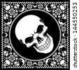 bandana pattern with skull - stock vector