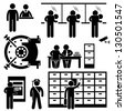 Bank Business Finance Worker Staff Agent Consultant Customer Security Stick Figure Pictogram Icon - stock photo