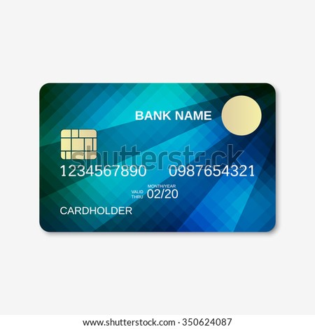 Bank card, credit card, discount card design template. Abstract style background.