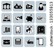 Bank icon set - stock photo