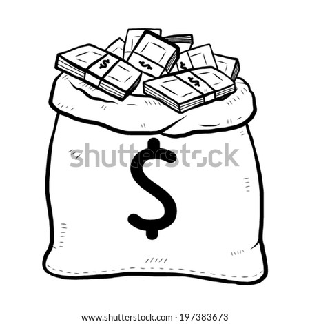 bank note in money bag / cartoon vector and illustration, black and white, hand drawn, sketch style, isolated on white background.