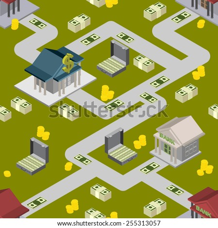 bank pattern maps isometric background vector