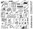 Banking and finance doodle set. Hand drawn. Vector illustration. - stock