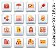 Banking web icons. Red and yellow series. - stock photo
