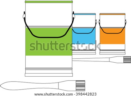 Banks with a paint of different colors. Paint buckets and brushes. Isolated on white background.