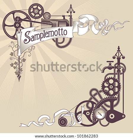Banner and corner frame design made from steam engine ...