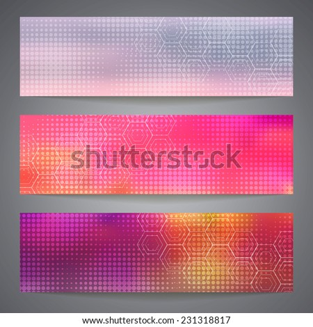 Banner design template for business and design with halftone effect. Corporate identity. Abstract backdrop. Vector illustration.