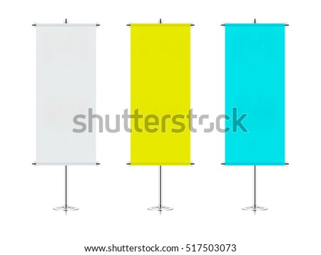teardrop banner template - mock realistic roll stand on white stock vector 429263674