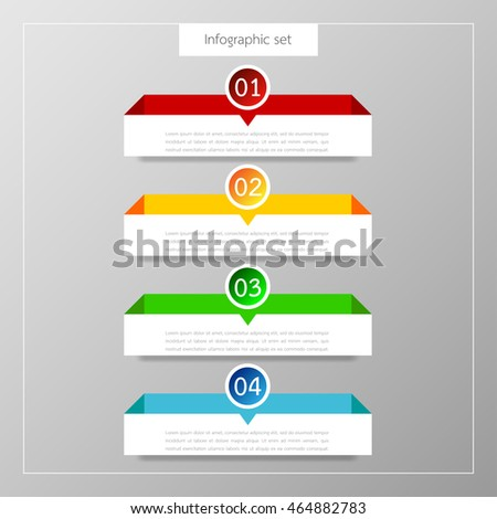 Banners infographics template set colorful tabs design Illustration vector business card and text box for web presentation layout.