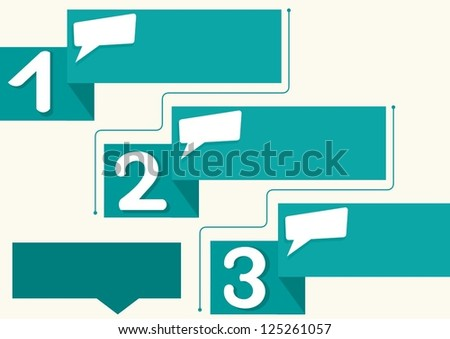 banners with numbers 1, 2 and 3