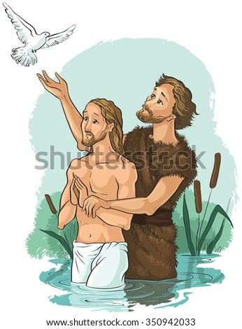 Baptism of Jesus Christ. Also available outlined version