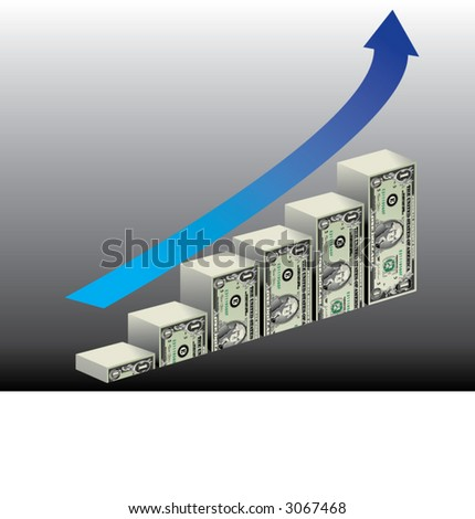 Bar graph made of dollar bills with blue upward arrow overhead